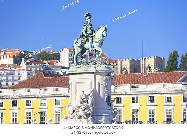 Statue of Dom Jose I, Praca do Comercio, Lisbon, Portugal, Europe