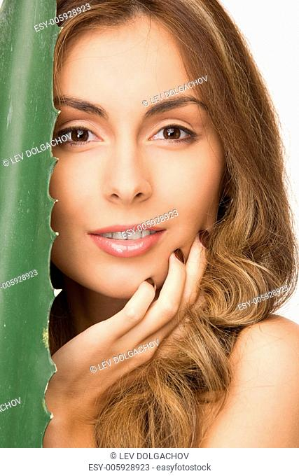 picture of lovely woman with aloe vera