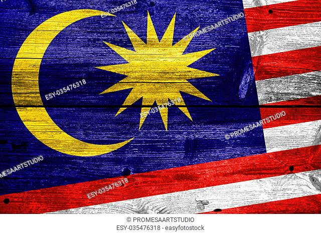 Malaysia Flag painted on old wood plank texture