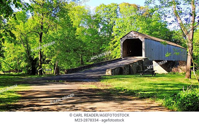 The old Scofield-Ford wooden bridge greets another spring in Newtown, Pennsylvania, USA