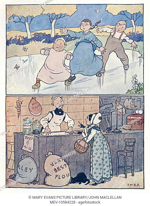 Nursery Rhymes -- two illustrations. Above -- three children sliding on the ice. Below -- a lady at the grocer's counter