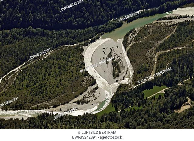 stream course of Isar river with gravel banks west of Sylvenstein Speicher, Germany, Bavaria