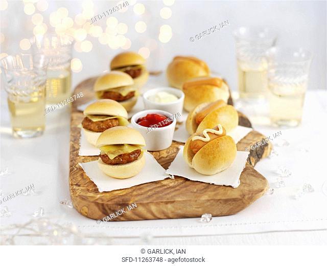 Mini burgers and mini hot dogs