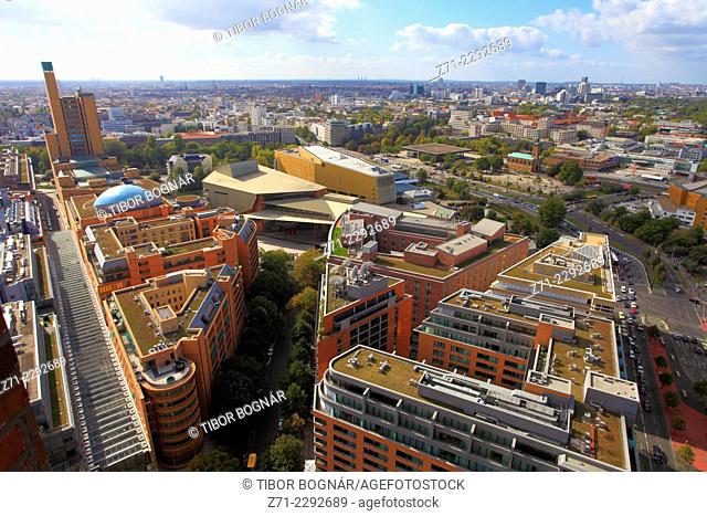Germany, Berlin, Potsdamer Platz, general aerial view, panorama