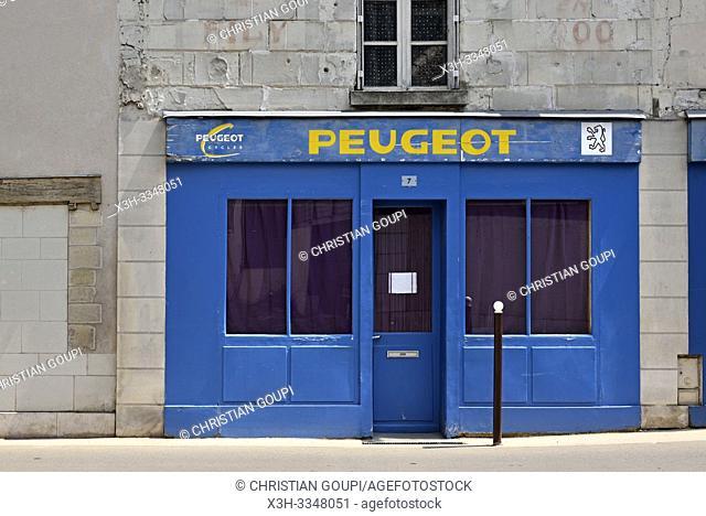 old Peugeot shop front at Loches in Touraine, department of Indre-et-Loire, Centre-Val de Loire region, France, Europe