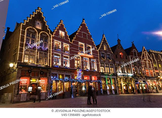 The Markt, Market Square, Bruges, Brugge, West Flanders, Flemish Region, Belgium, Winter