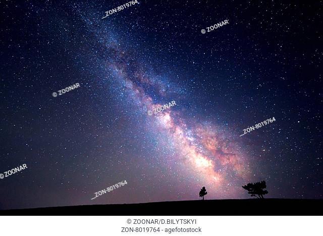 Milky Way. Beautiful summer night sky with stars. Background