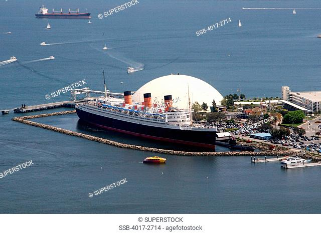 Aerial View Of A City Rms Queen Mary 2 Long Beach Los Angeles