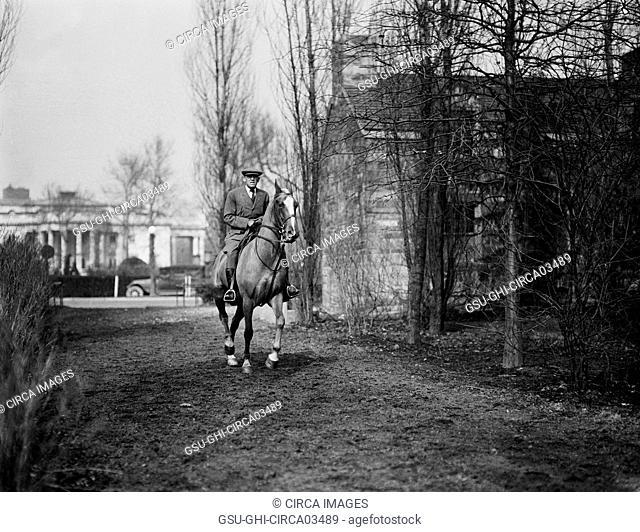 Man Horseback Riding Washington DC, USA, Harris & Ewing, 1922