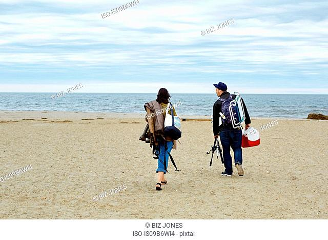 Rear view of young couple carrying sea fishing equipment on beach