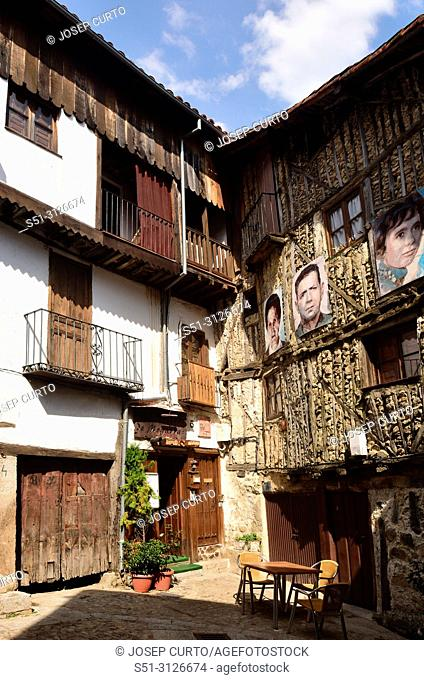 facades of the houses of Mogarraz with the portraits of their owners, Mogarraz, Sierra de Francia Nature Reserve, Salamanca province, Spain