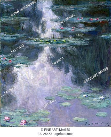 Water Lilies (Nymphéas). Monet, Claude (1840-1926). Oil on canvas. Impressionism. 1907. France. Museum of Fine Arts, Houston. 91,4x81. Landscape