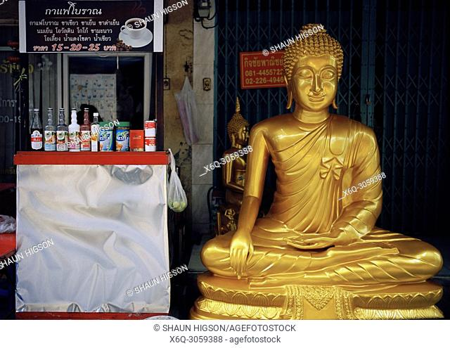 Buddha statue for sale in Bamrung Muang Road in Bangkok in Thailand in Southeast Asia Far East