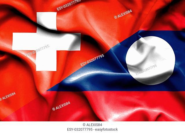 Waving flag of Laos and