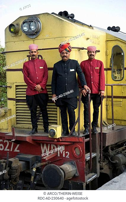 Stewards in front of Palace on Wheels, New Delhi, India, New Dehli