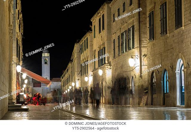 Night time on the Stradun, The Old City, Dubrovnik, Croatia, Europe
