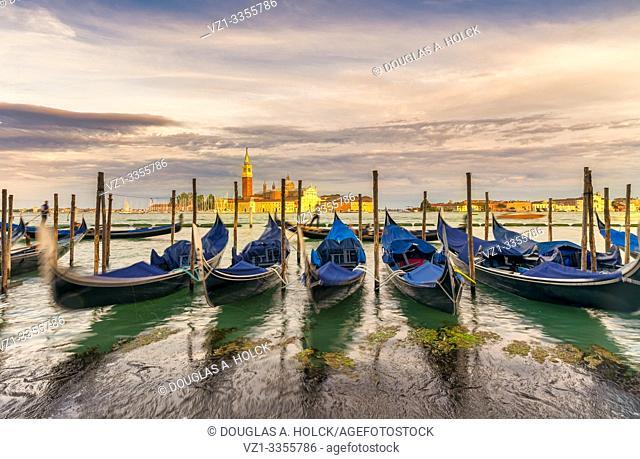 Gondolas on Grand Canal at Sunset Venice Italy World Location