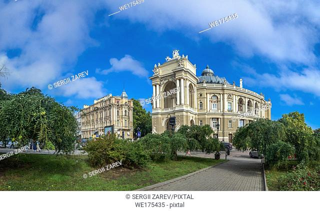 Odessa, Ukraine - 09. 12. 2018. Odessa National Academic Theater of Opera and Ballet in Ukraine. Panoramic view in a summer day