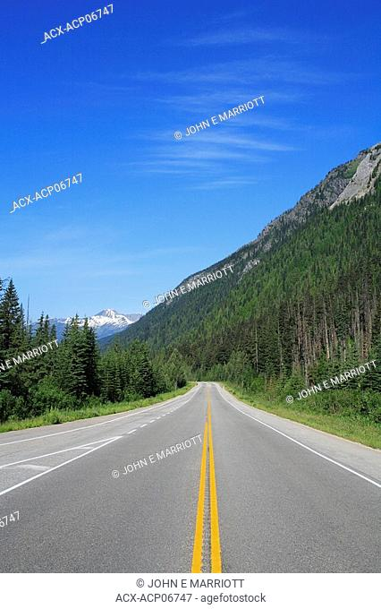 The Trans-Canada Highway Highway 1 through Rogers Pass in the Selkirk Mountains near Revelstoke, British Columbia, Canada
