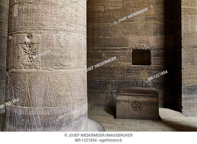 Coptic-Christian inscriptions, Isis temple on Philae Island, Aswan, Nubia, Egypt, Africa