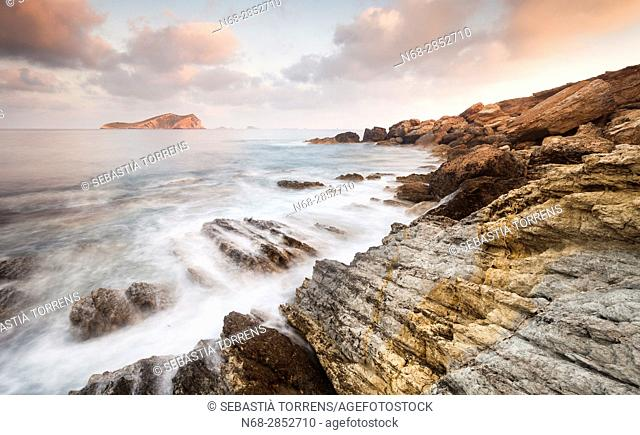 Coast of Ibiza and S'Espartar island, Ibiza, Balearic Islands, Spain