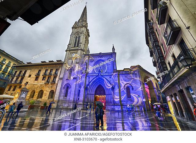 Noches Blancas Bilbao 2018, Cathedral of Santiago, Old Town, Bilbao, Biscay, Basque Country, Spain, Europe