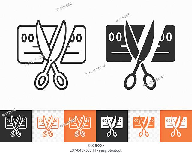 Card Scissors Cut black linear and silhouette icons. Thin line sign of bankrupt. Being Insolvent outline pictogram isolated, transparent