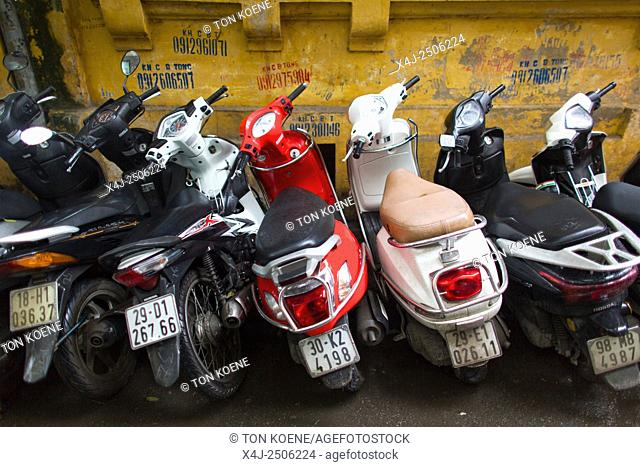 scooters parked in Hanoi