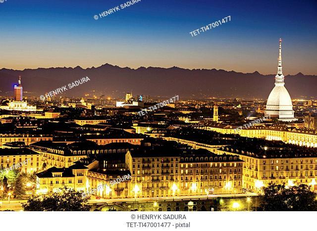Skyline of Turin, Turin, Piedmont, Italy