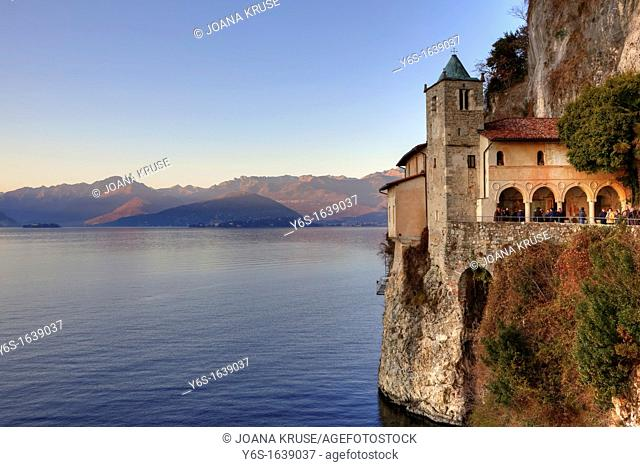 Santa Caterina del Sasso Ballaro is a hermit and pilgrimage monastery from the 13th Century on Lake Maggiore in Lombardy, Italy