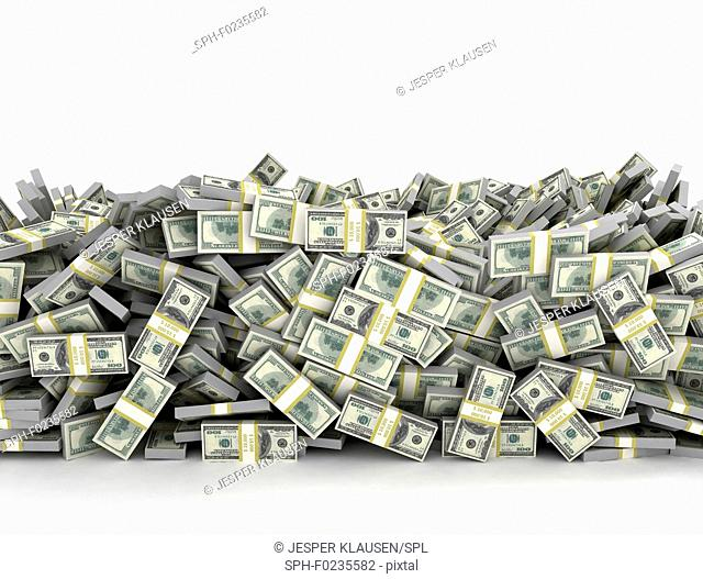 Pile of US currency, illustration