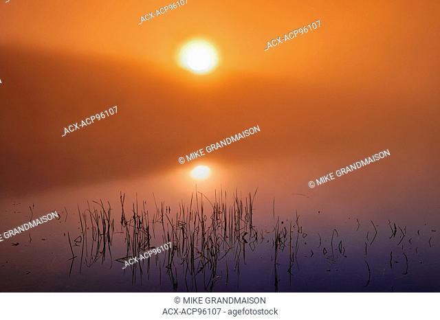sunrise and fog on Silent Lake Silent Lake Provincial Park Ontario Canada