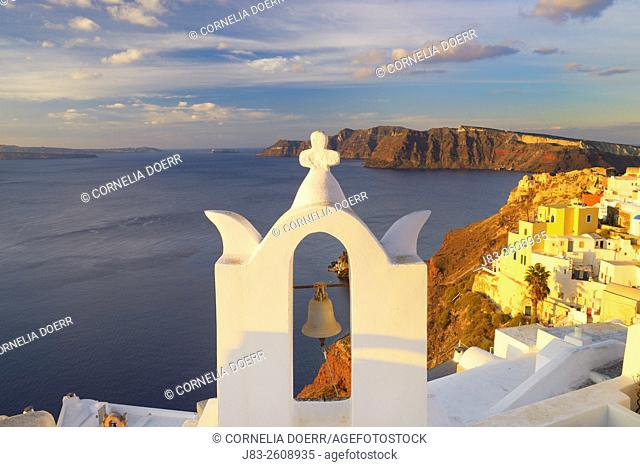 View of Oia village and Aegean Sea , Oia , Santorini, Aegean Island, Cyclades Islands, Greek Islands, Greece, Europe