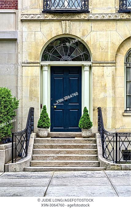 New York City, Manhattan. Close up of the Entry Door to an Elegant Town House