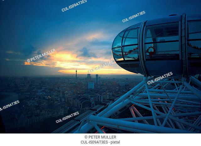 High angle view of city skyline from London Eye at dawn, London, England, UK
