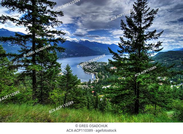 Kaslo and the Kootenay Lake from lookout above the town, Kootenay region, BC, Canada