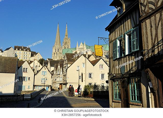 Bouju bridge and Bourg street with spires of the Cathedral in the background, Chartres, Eure-et-Loir department, Centre-Val de Loire region, France, Europe