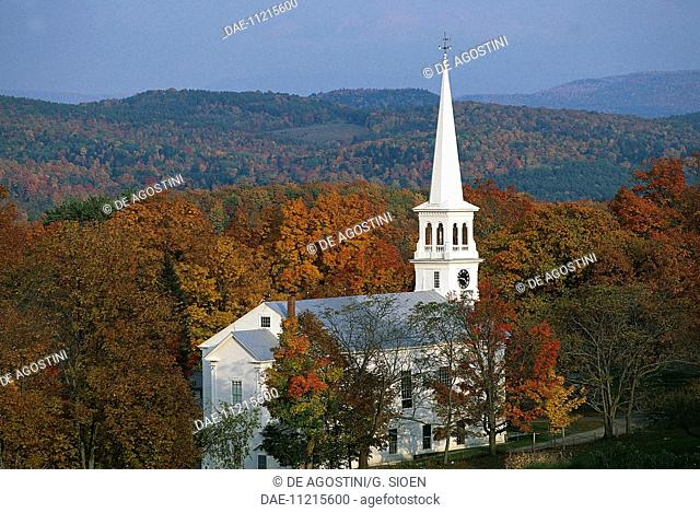 Autumn landscape with the Peacham Congregational Church, 1794, Vermont, United States of America
