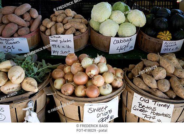 Vegetables on a market stall