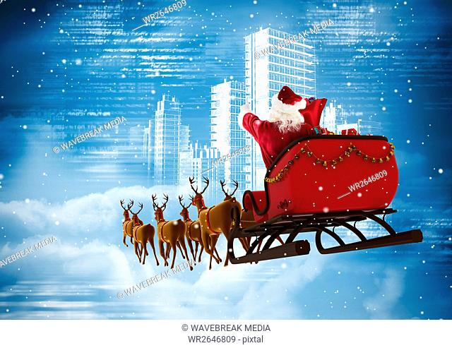 Santa clause riding 3D reindeer sleigh against the city
