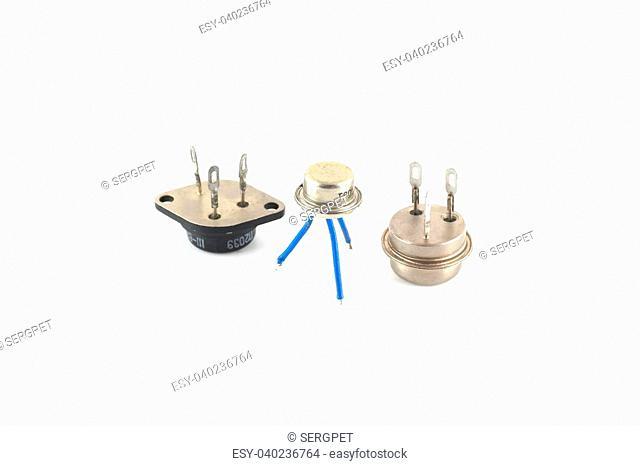 Old transistors over white