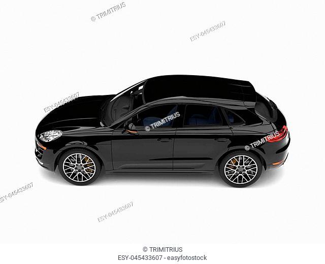 Cool modern family car - shiny black - top down side view