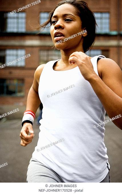 A jogging woman
