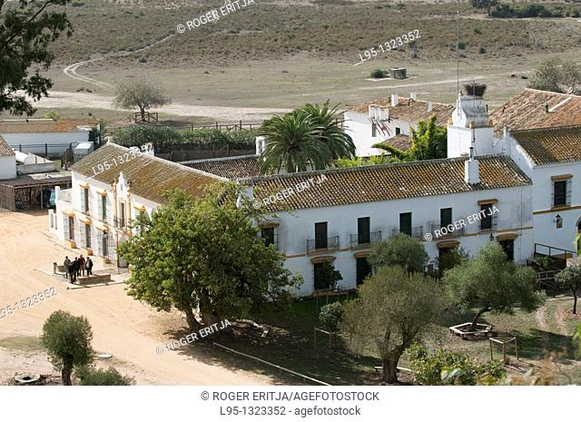 Aerial view of el Palacio de Doñana, central scientific station belonging to the Superior Council of Science Research CSIC in the Doñana National Park, Huelva