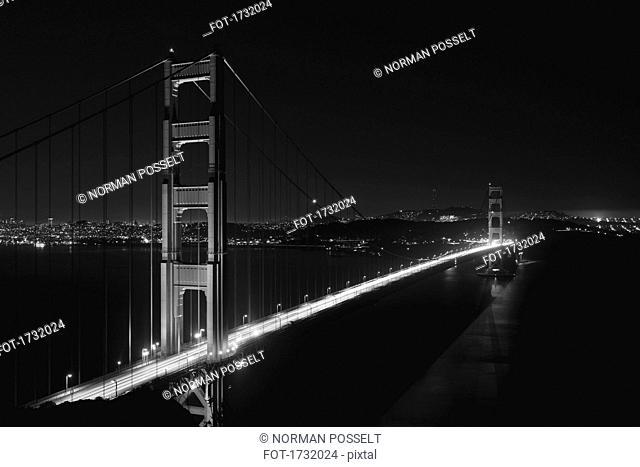 High angle view of Golden Gate Bridge at night, San Francisco, California