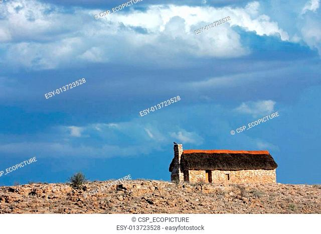 Thatched hut landscape