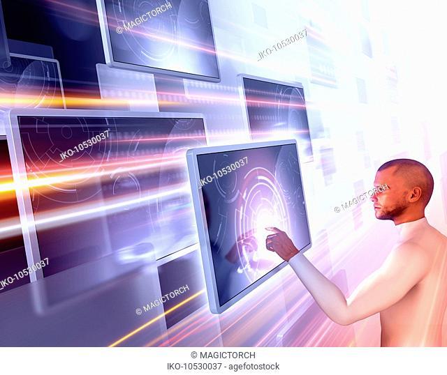 Man using touch screen technology