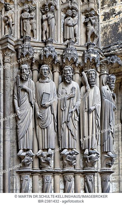 Chartres Cathedral, mid-south portal, right jamb with James the Elder, 3rd from left, Ile de France region, department of Eure-et-Loir, France, Europe