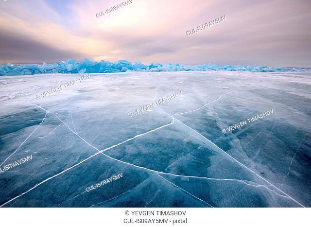 Cracked patterned ice, Baikal Lake, Olkhon Island, Siberia, Russia