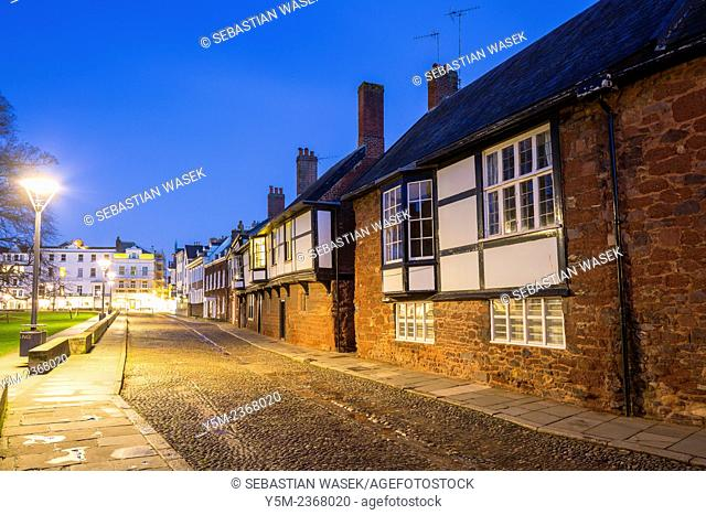 Cathedral Close in Exeter by night, Devon, United Kingdom, Europe